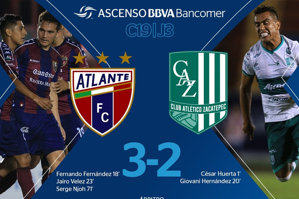 Atlante vence al Zacatepec y es líder general otra vez en Ascenso MX