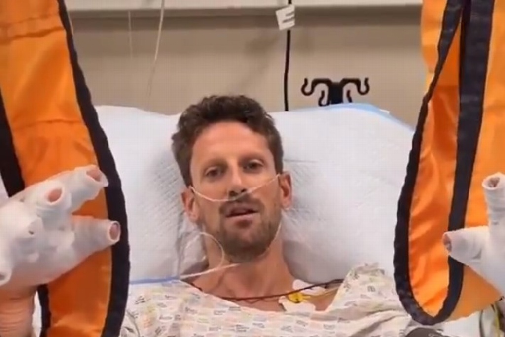 Grosjean bromea desde el hospital tras grave accidente en GP de Bahréin (VIDEO)