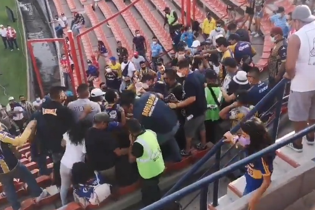 Pelea en las tribunas del estadio de San Luis (VIDEO)